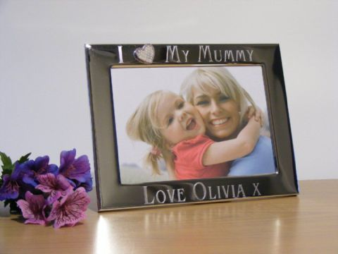Personalised Silver Heart Photo Frame I Love My Mummy Mothers Day Gift